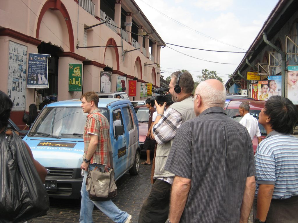 Filming on the streets of Rangoon