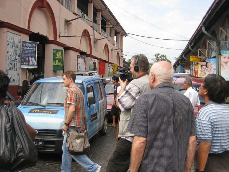 Filming on the streets of Yangon
